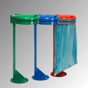 Müllsackhalter Standgerät 1.050 x 370 x 465 mm Kunststoff Deckel Stahl