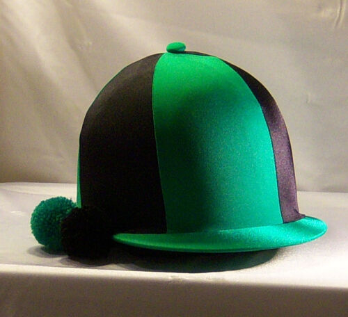 RIDING HAT COVER EMERALD GREEN & BLACK