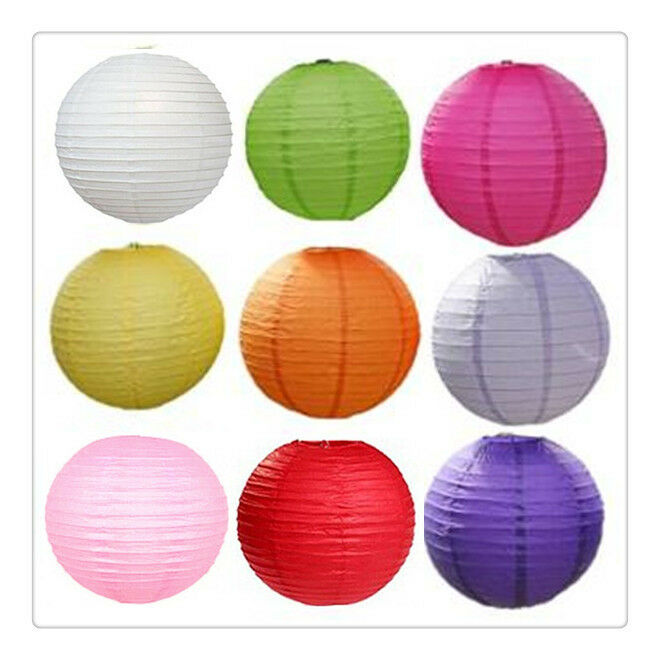 9 Colours Mixed New Round Paper Lanterns Lamp Wedding Birthday Party