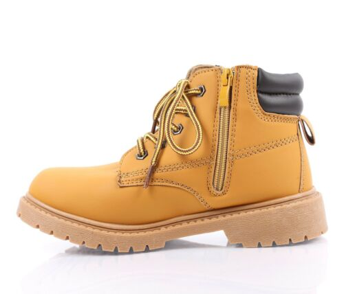 TAN COLOR MILITARY COMBAT STYLE GIRLS LACE UP KIDS ANKLE BOOTS YOUTH SIZE 1