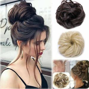 Humain-reel-naturel-Curly-desordonne-Bun-Cheveux-Piece-chouchou-Extensions-de-cheveux-Perruque