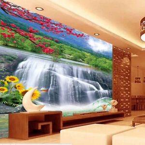 Details About 3D Waterfall Flowers Self Adhesive TV Background Wallpaper  Bedroom Wall Murals