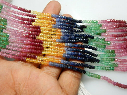 """Natural Multi Sapphire,Emerald,Ruby,Citrine Faceted Precious Beads 14/"""" 1 Strand"""