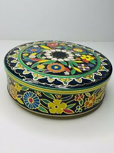 Vintage-Daher-England-Long-Island-NY-Embossed-Floral-8-034-Round-Tin