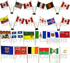 """Small Country Handheld Stick Table Desk Flags 4/""""X6/"""" 10/"""" Plastic Pole 10X15cm"""