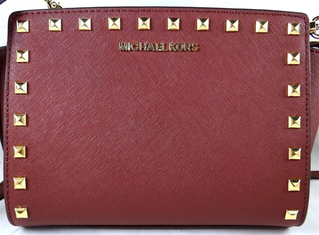 0bab5275df6c Michael Michael Kors Selma Stud Medium Merlot Saffiano Leather Messenger Bag