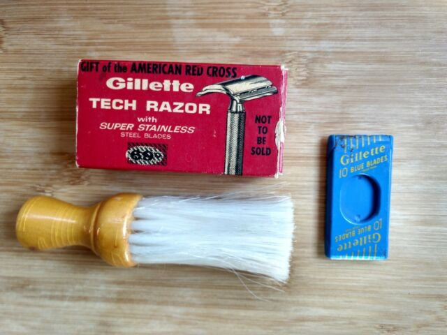 Gillette Tech Razor in Original Box Tin of Blades Red Cross Gift + Shaving Brush
