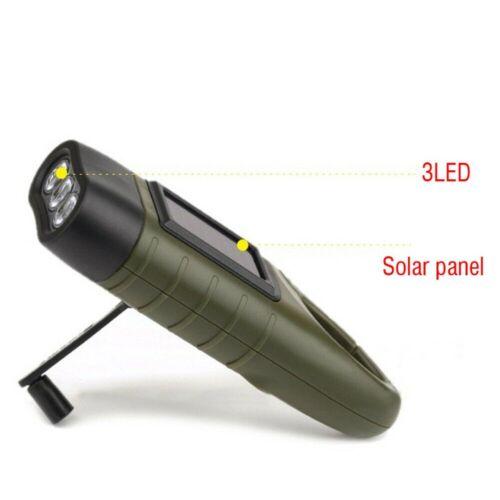 NEU LED Taschenlampe Handkurbel Solar Dynamo Karabiner Wiederaufladbare Drausse
