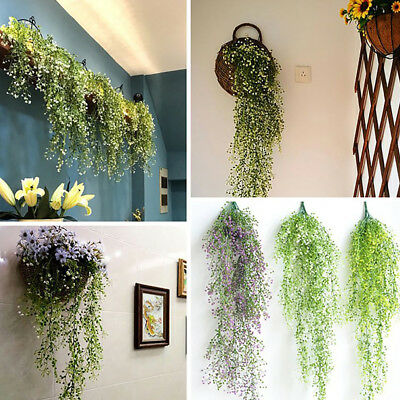 6 Artificial Small Leaf Vines Plastic Plants Wall Hangings Restaurant Decor