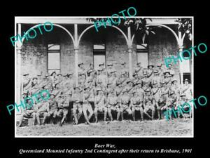 OLD-LARGE-HISTORIC-PHOTO-OF-BOER-WAR-AUSTRALIAN-SOLDIERS-QLD-INFANTRY-c1901