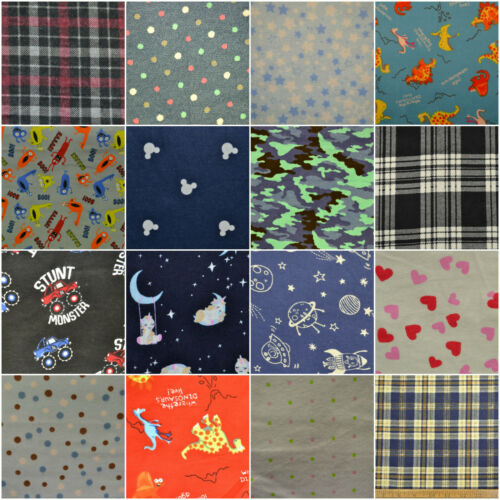 PRINTED Wincyette Flannel Brushed 100/% Cotton Fabric Winter shirts 110cm Wide