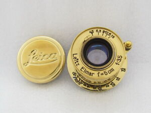 Leitz Elmar f3,5/5 Russian EXCELLENT Gold M39 Lens to 35mm RF Camera Leica II(D)
