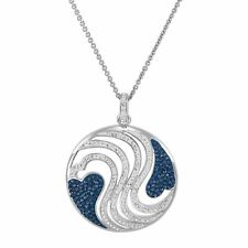 Heart Wave Medallion Pendant w/ Swarovski Crystals in 18K Gold-Plated Bronze,18""