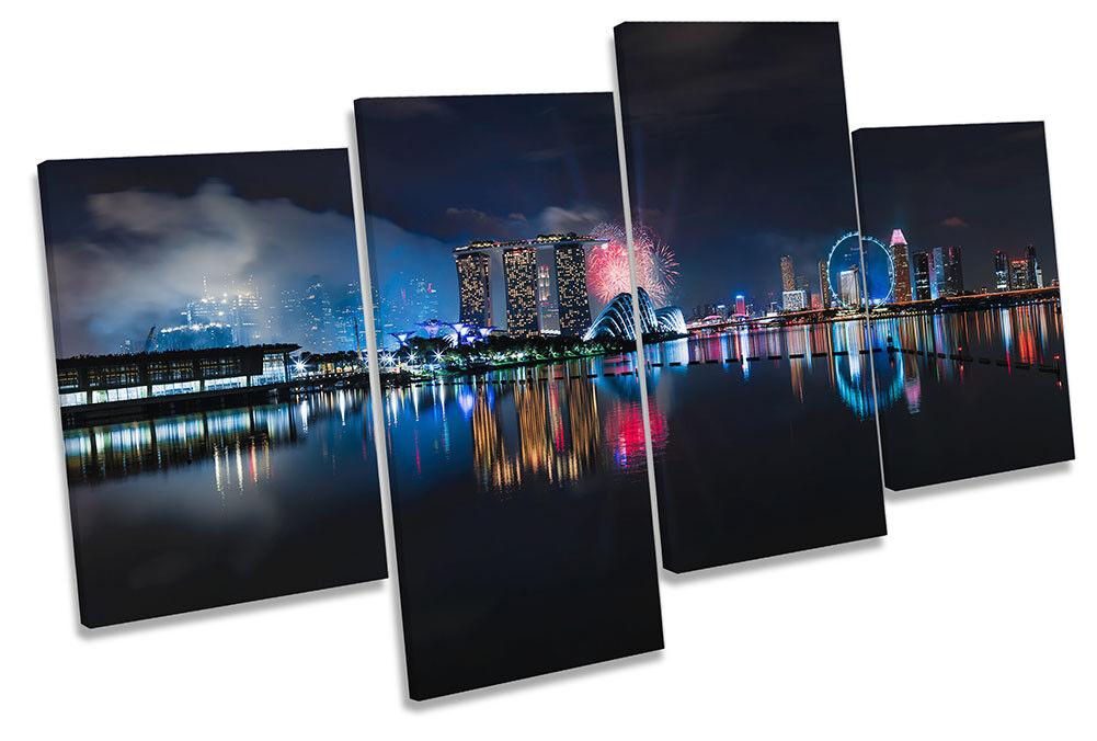 Singapore Skyline Fireworks Framed MULTI CANVAS drucken wand kunst