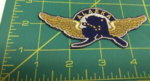 New-Alaska-iron-on-embroidered-patch-Alaska-Pilot-Wings-gold-wings-Alaska-map