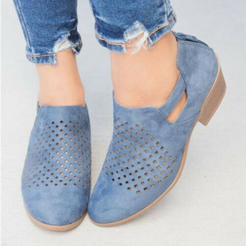 Women Lady Hollowed Breathable Pumps Low Block Heel Strappy Casual Walking Shoes