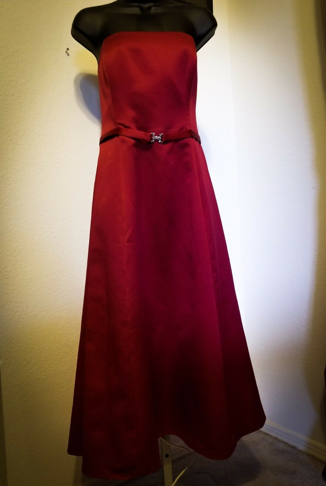 Smooth Mid Length Red Formal Gown with Diamond Jeweled Belt