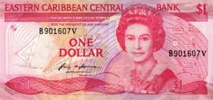 02 East Caribbean States / Ostkaribische Staaten P17a 1 Dollar 1985-1988 Hindernis Entfernen