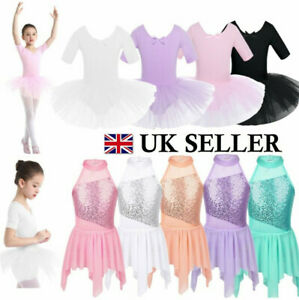 UK-Kids-Girls-Ballet-Dance-Tutu-Dress-Ballerina-Leotard-Dancewear-Skirt-Costume