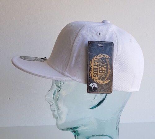 KB Ethos Aderente Plain CAPS Piatto Picco BNWT Hip Hop Snapback Berretto Da Baseball//Bianco