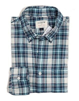 Men/'s L Slim Fit NWT Turquoise//Black Plaid Madras Cotton Shirt J.Crew