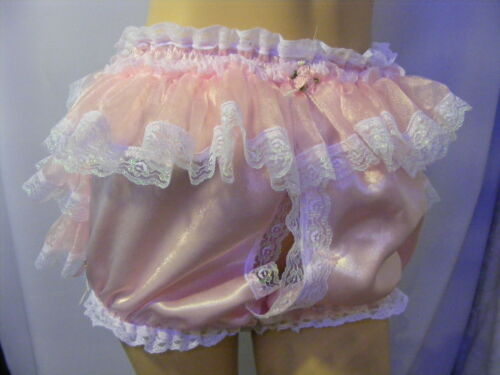 PINK RUFFLE BUM OPEN FRONT PEEP HOLE KNICKERS PANTIES ADULT BABY SISSY CD TV