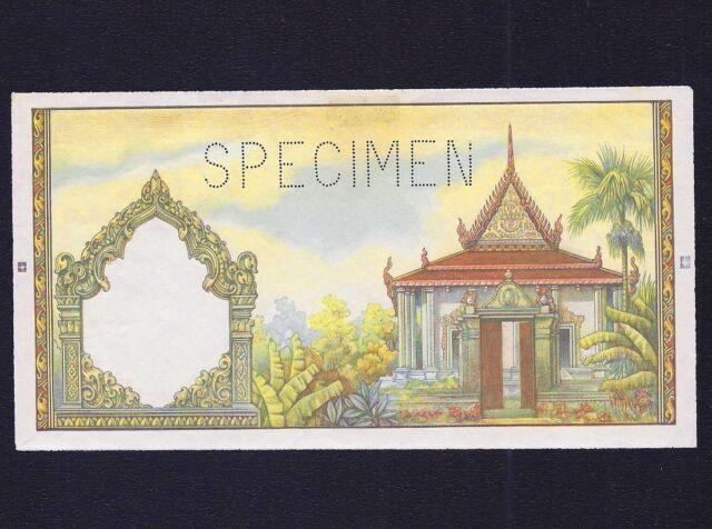 CAMBODIA  500 Riels 1958 -1970  PROOF designer  Gilbert Poilliot  SPECIMEN