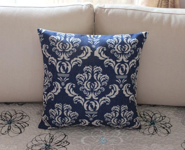 Dark Blue European Sham Cotton Linen Cushion Cover Throw Pillow Home Decor S2887