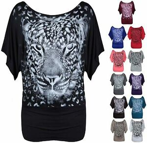 New-Ladies-Animal-Print-Batwing-T-Shirt-Womens-Short-Sleeve-Top-Plus-Size-16-26