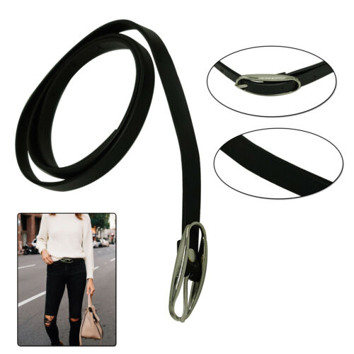 10mm Thin Faux Leather Waist Belt Shiny Black For Ladies Girls Daily Party Event
