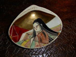 Rare Kai Peinture Sur Coquillage Japon Femme A L Eventail Jeu Kai Awase Ebay