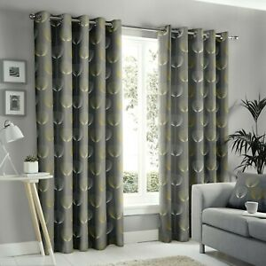 Fusion-034-Delta-034-Geometric-Floral-100-Cotton-Fully-Lined-Eyelet-Curtains-Grey