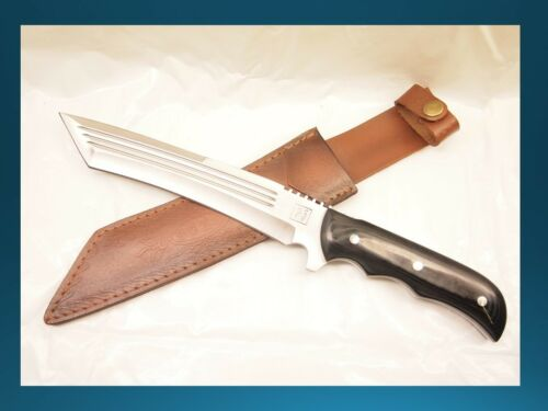 Full Tang Quality Thick Blade HuntingCamping Heavy Duty Knife w Leather Sheath