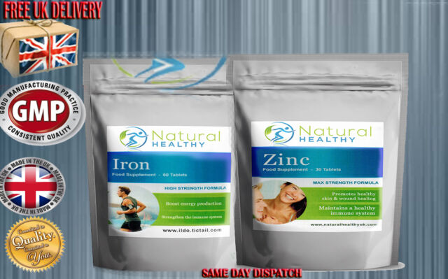 IRON + ZINC TABLETS - HEALTHY LIVING SPORT SUPPLEMENT - ENERGY PRODUCTION PILLS