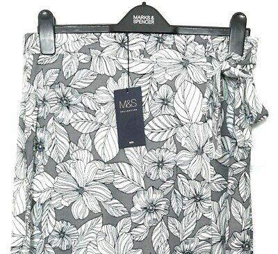 M/&S Grey Ladies Crepe Wrap Look Aline Midi Skirt 12 BNWT// Marks /& Spencer Women