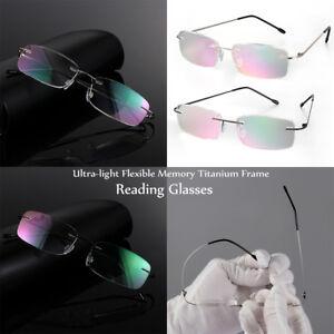 cc926bcf68bab La foto se está cargando 2018-Reading-Glasses-Rimless-Ultra-light-Memory- Titanium-