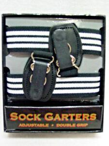 Mens-Double-Grip-Elastic-Sock-Garters-Adjustable-Double-Grip-Pair-stripe-in-box