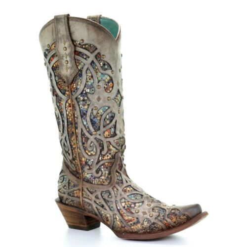 Corral Ladies Taupe Glitter Inlay /& Studs Snip Toe Boots C3409