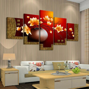 Strange 5 Piece Set Flower Canvas Wall Art Print Oil Painting Download Free Architecture Designs Intelgarnamadebymaigaardcom