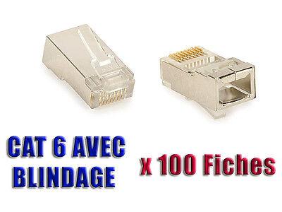 Boite De 100 Fiches Rj45 8p8c - Prises à Sertir - Blindees - Cat6 Cat5