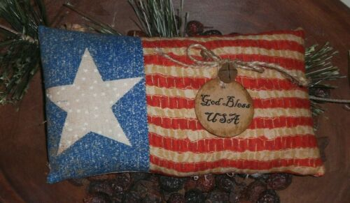 Primitive Americana July 4 God Bless America Flag Bowl Filler Ornie Tiered Tray