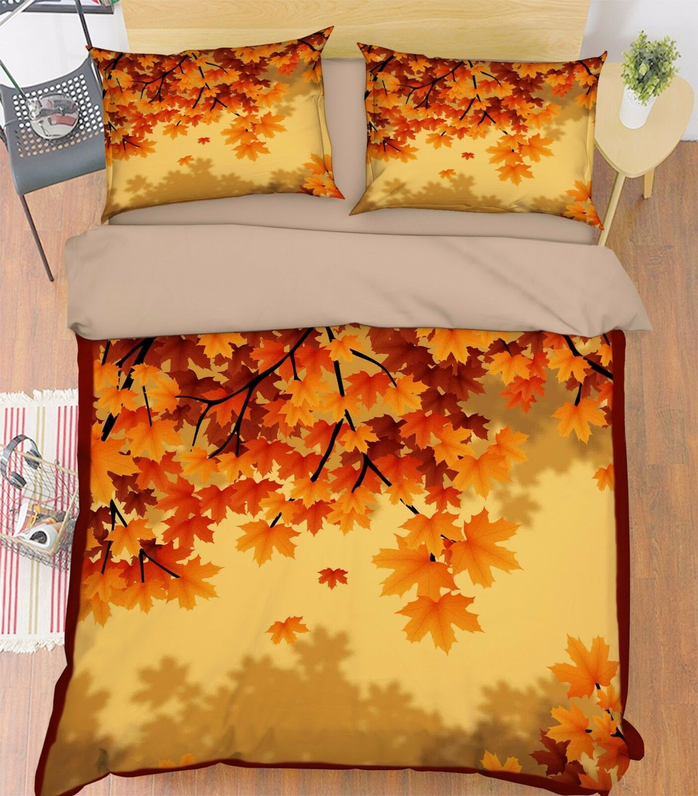 3D Leaf Painted 906 Bed Pillowcases Quilt Duvet Cover Set Single Queen UK Summer