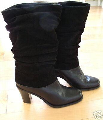 New Markon Wms Black Leather Suede Boots Danielle 7 M