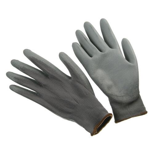 Gray Nylon Safety Work Gloves With PU Polyurethane Coating Medium//Lg//XL 1 Pair