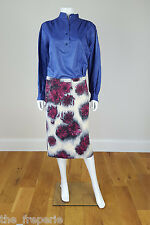 *NO. 21 BY ALESSANDRO DELL'ACQUA* FLORAL PRINT SATIN PENCIL SKIRT UK 8