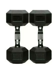 60lbs Total Rubber Encased Hex Pair of 30lb Dumbbell Weights AmazonBasics