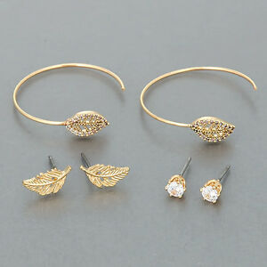 Details About Three Gold Stud Cubic Zirconia Open Hoop Leaf Design Unique Earrings