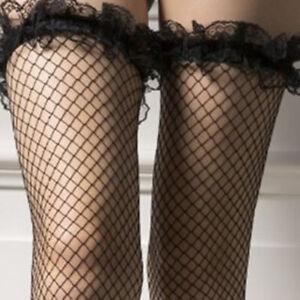 Men-Black-Lace-Fishnet-Thigh-High-Stockings-Glossy-Sissy-Socks-Clubwear-Costumes