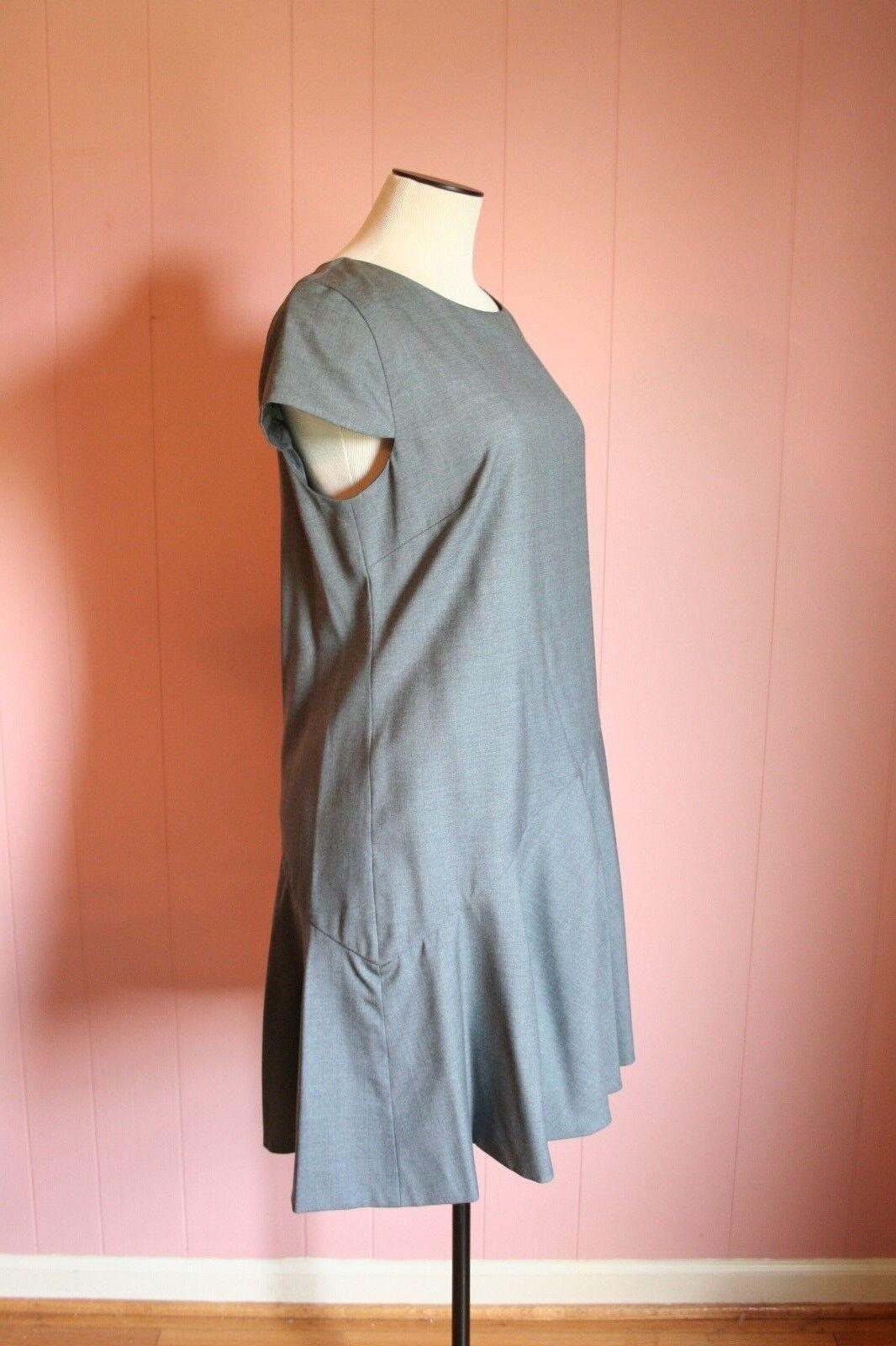 JCrew Flounce Dress Dress Dress in Super 120s Wool 8 Heather Flannel Grey Suit Career B8149 607140
