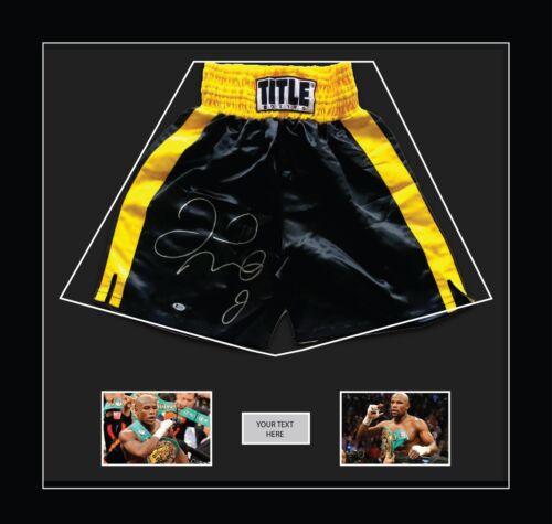 "Nouveau Boxe Shorts Cadre Floyd Mayweather avec Free photos 2x6""x4"" NOIR SUPPORT"